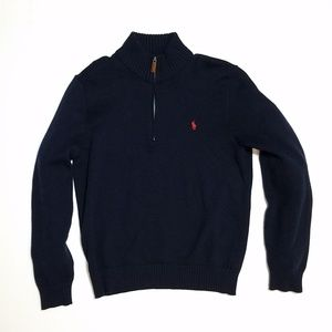 Polo High Twist Cotton Half Zip Mockneck Sweater